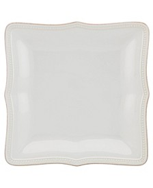 French Perle Bead White Square Dinner Plate
