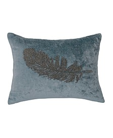 Feather Beaded 12  X 16  Decorative Pillow