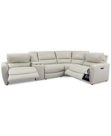 Danvors 5-Pc. Leather Sectional Sofa with 2 Power Recliners, Power Headrests, and Console