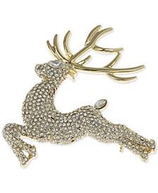 Gold-Tone Pavé Reindeer Pin