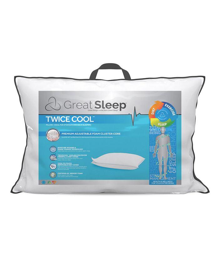 Great Sleep - Twice Cool Premium Adjustable Foam Cluster King Pillow