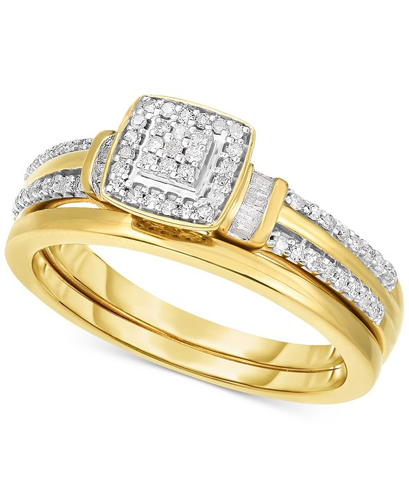 Promised Love Diamond Square Cluster Engagement Ring (1/4 ct. t.w.) in 14k Gold-Plated Sterling Silver
