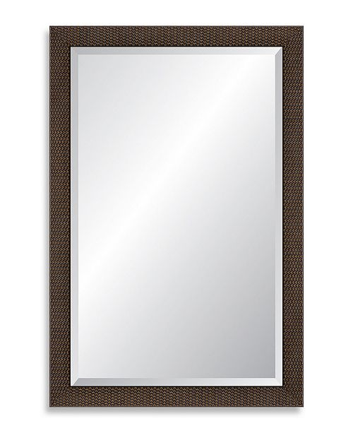 "Reveal Frame & Decor Reveal Mahogany Basketweave Beveled Wall Mirror - 26"" x 39.5"""