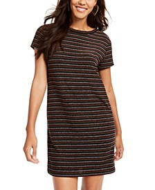 Juniors' Lurex Striped T-Shirt Dress