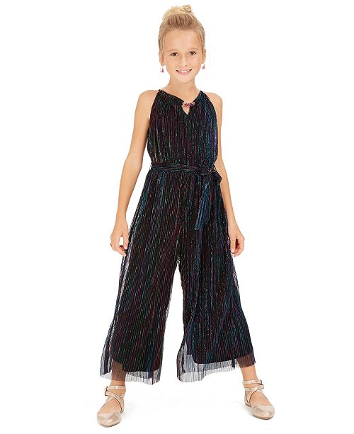 Sequin Hearts Big Girls Metallic-Stripe Jumpsuit