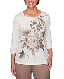 First Frost Floral-Graphic Embellished-Neck Top