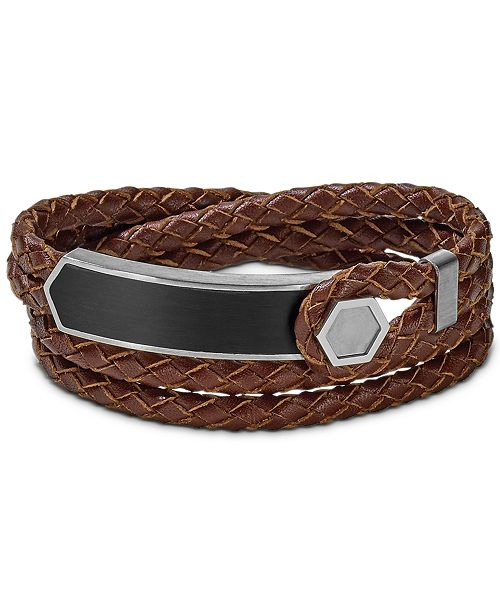 Bulova Men's Brown Braided Leather Wrap Bracelet in Stainless Steel, J96B009M