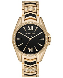 Women's Whitney Gold-Tone Pavé Stainless Steel & Black Enamel Bracelet Watch 38mm
