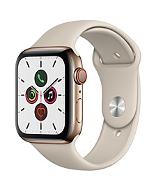 GPS + Cellular, 44mm Gold Stainless Steel Case with Stone Sport Band