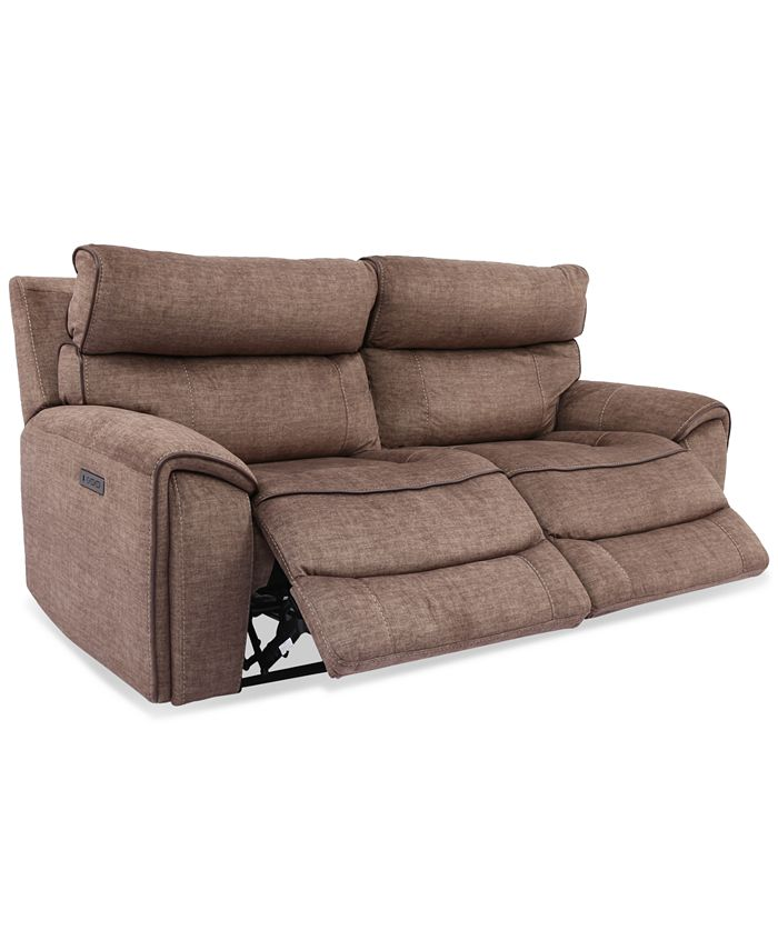 Furniture - Hutchenson 2-Pc. Fabric Sectional with 2 Power Headrests