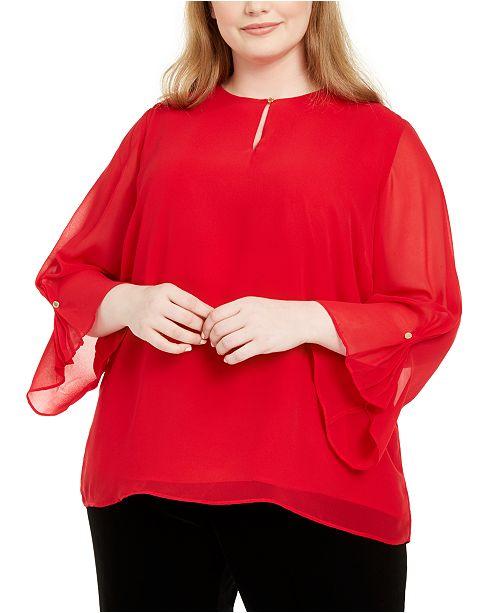 Calvin Klein Plus Size Bell-Sleeve Top