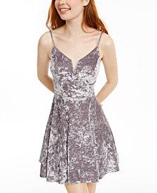 City Studios Juniors' Glitter Crushed Velvet Fit & Flare Dress