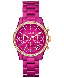 Women's Chronograph Ritz Electric Pink Stainless Steel Bracelet Watch 37mm