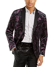 I.N.C. Men's Big & Tall Slim-Fit Velvet Floral Blazer, Created For Macy's