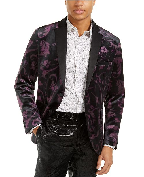 INC International Concepts INC Men's Slim-Fit Velvet Floral Blazer, Created For Macy's