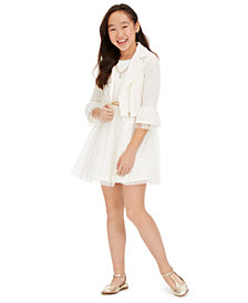 Beautees Big Girls 3-Pc. Belted Dress, Bell-Sleeve Jacket & Necklace Set