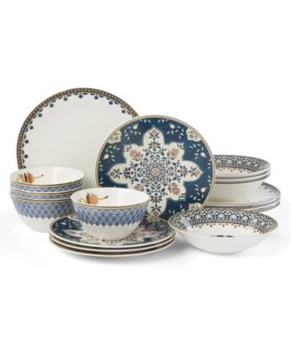 Global Tapesetry Sapphire 16-PC Dinnerware Set
