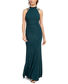 Juniors' Mock-Neck Strappy Glitter Gown