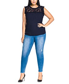 Trendy Plus Size Lace Angel Top