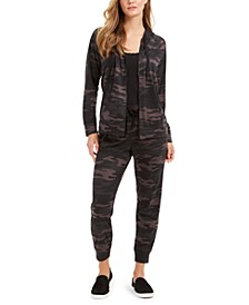 Camo-Print Hoodie, Lace-Trim Camisole & Jogger Pants, Created For Macy's