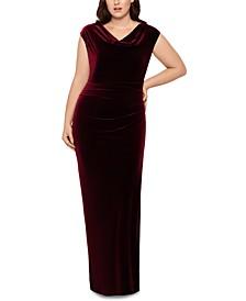 Plus Size Drape-Front Velvet Gown