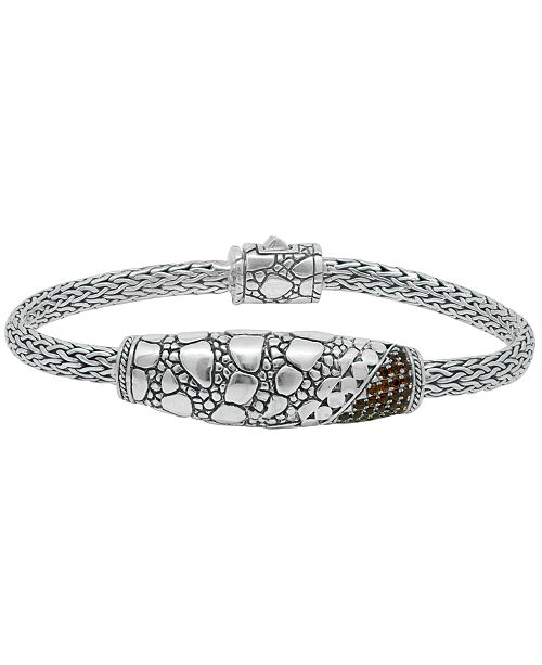 DEVATA Color Cubic Zirconia (1/20 ct. t.w.) Crocodile Signature Bracelet with Dragon Bone Chain in Sterling Silver and 18k Yellow Gold Accents