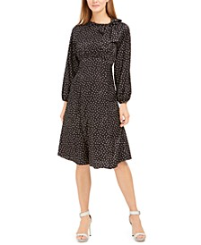 Tie-Neck Polka Dot Jacquard Dress