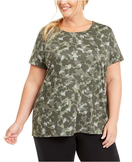 Ideology Plus Size Printed Keyhole Top