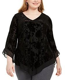 Plus Size Velvet-Burnout Handkerchief-Hem Top, Created For Macy's