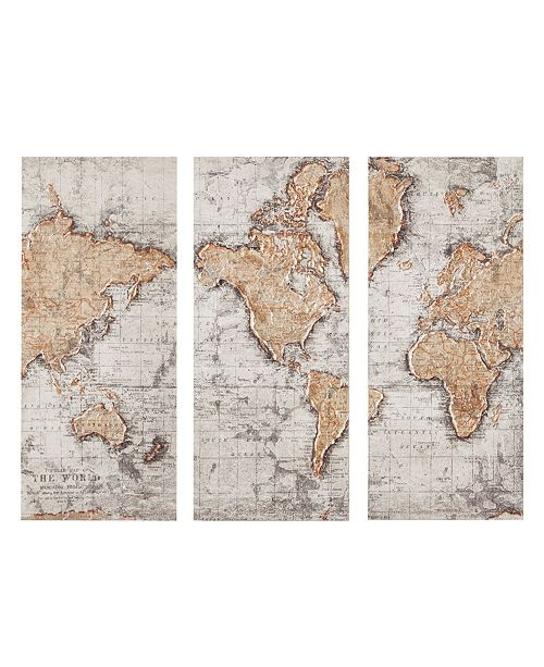 JLA Home Madison Park Map of the World Printed Canvas, Set of 3