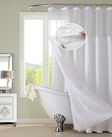 Waffle Complete Shower Curtain With Detachable Liner