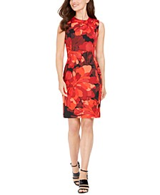 Petite Big-Floral Sheath Dress