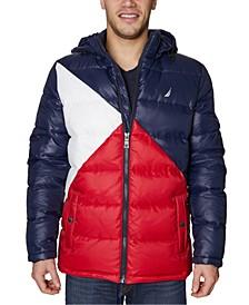 Men's Water-Resistant Colorblocked Hooded Puffer Jacket