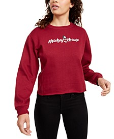 Juniors' Mickey Mouse Cropped Sweatshirt
