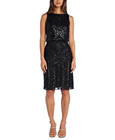 Sequined Blouson Sheath Dress