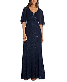 Embellished Lace Capelet Gown