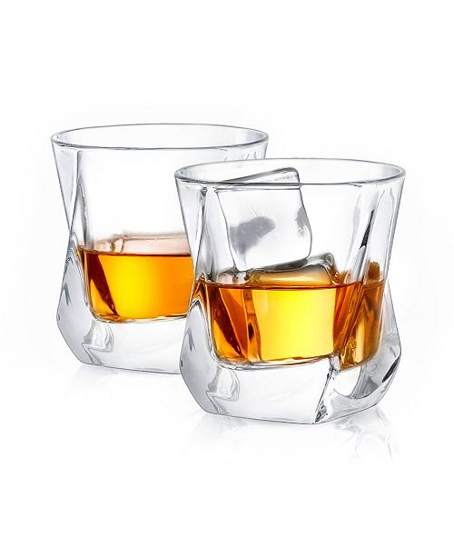 JoyJolt Aurora Old Fashioned Whiskey Glasses Set of 2
