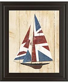 "British Flag Sailboat by Avery Tillmon Framed Print Wall Art, 22"" x 26"""