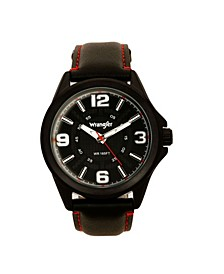 Men's Watch, 48MM IP Black Case with Cutout Black Dial, White Arabic Numerals, Black Strap with Red Stitching, Analog , Red Second Hand
