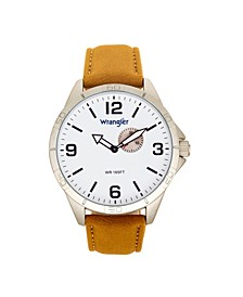 Men's Watch, 48MM IP Silver Case with White Dial, Second Hand Sub Dial, Tan Strap