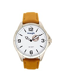 Wrangler Men's Watch, 48MM IP Silver Case with White Dial, Second Hand Sub Dial, Tan Strap