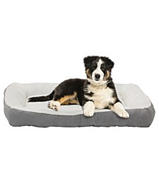Rectangle Large Gray Bumper Pet Bed, High Quality Plush Cover and Non-Slip Buttom