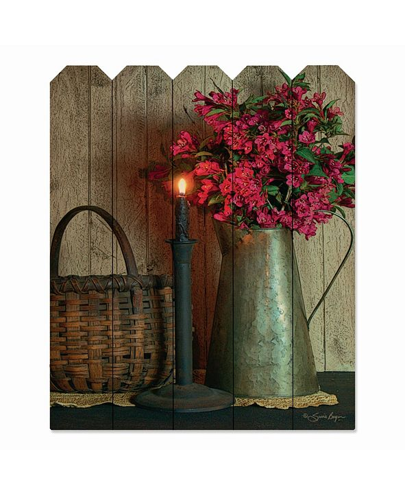 """Courtside Market Basket and Blossoms 9"""" x 12"""" Wood Picket Wall Art"""