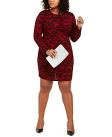 Plus Size Glam Lace-Print Dress