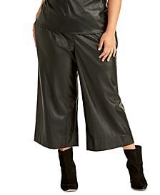 Trendy Plus Size Faux-Leather Cropped Pants