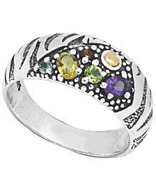 Multi-Gemstone (2 ct. t.w.) Tiger Classic Ring in Sterling Silver and 18k Yellow Gold Accents