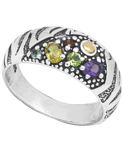DEVATA Multi-Gemstone (2 ct. t.w.) Tiger Classic Ring in Sterling Silver and 18k Yellow Gold Accents