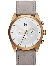 Men's Chronograph Bronze Ore Gray Leather Strap Watch 44mm