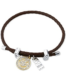 Crystal Smile Charm Brown Braided Bracelet in Two-Tone