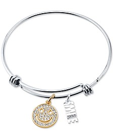 Crystal Smile Charm Bangle Bracelet in Two-Tone Stainless Steel